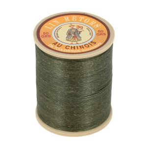 Bobine fil de lin au chinois retors extra glacé n°24 - KAKI FONCE 493