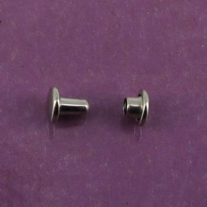 Lot de 20 petits rivets DOUBLE CALOTTE en laiton (T1) finition Nickelé