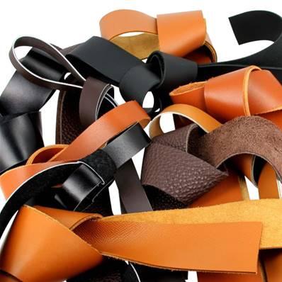 Lot de 500g de lanières de cuir diverses - coloris NOIR et MARRON