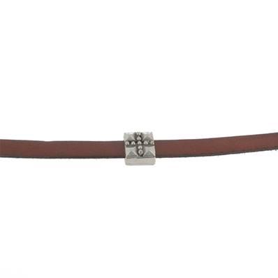 Coulissant PICOT CROIX - Lanière de 10 mm - ARGENT VIEILLI