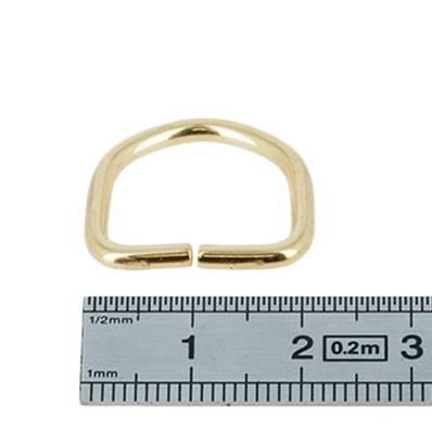 Anneau demi rond - acier DORÉ - 18x14x2,5 mm