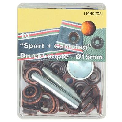 Kit 10 boutons pression FORT et outils de pose - 15 mm - VIEUX CUIVRE