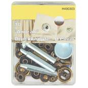 Kit 10 boutons pression et outils de pose - 15 mm - LAITON VIEILLI