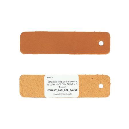 Échantillon de lanière de cuir de collet - LONDON FAUVE - Ép 3,4 mm