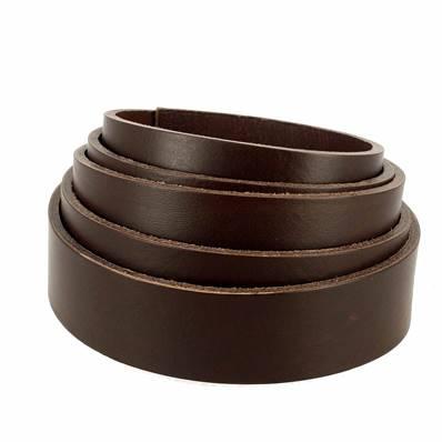 Lanière de cuir de collet nourri - MARRON CAFÉ - Larg 29 mm - Long 110 cm