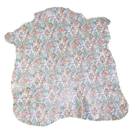 Peau de cuir de chèvre fantaisie fleurs exotiques - COLORÉ C54