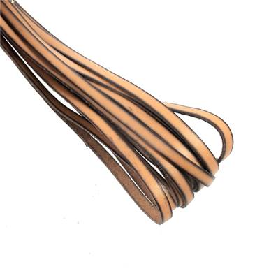 20 cm de lacet en cuir MARRON - largeur 5 mm