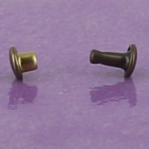 Lot de 100 petits rivets DOUBLE CALOTTE en laiton (T2) finition Laiton vieilli