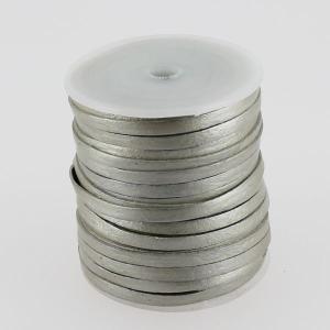 Lacet en cuir plat - largeur 4 mm - ARGENT