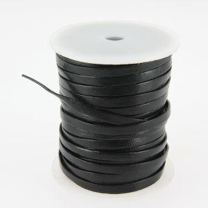 Lacet en cuir plat - largeur 5 mm - NOIR - Bobine de 25 mètres