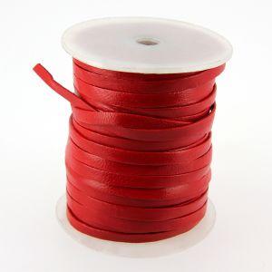 Lacet en cuir plat - largeur 5 mm - ROUGE
