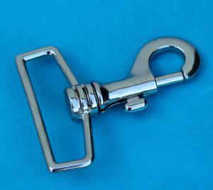 Mousqueton tournant à tirette - nickelé - 70x50 mm