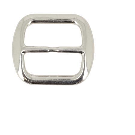 Passant double rectangulaire et incurvé - NICKELÉ - 30 mm