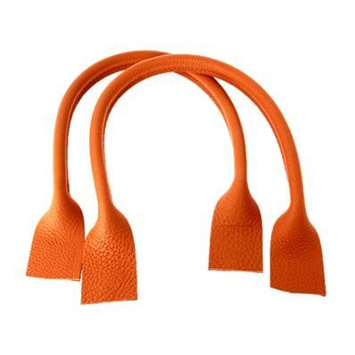 Paire de anses en cuir pour sac à main - ORANGE - Longueur 51 cm