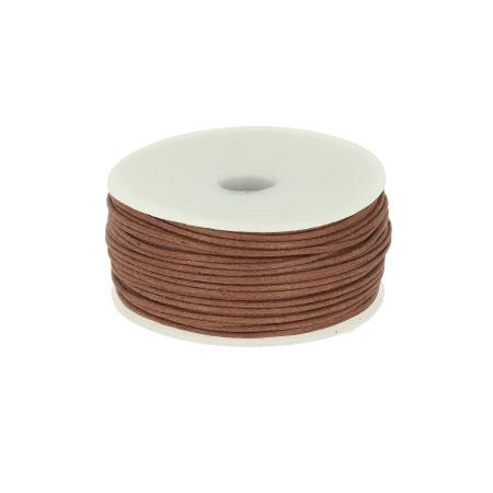 Bobine 25 m lacet coton tressé ciré 1 mm - MARRON
