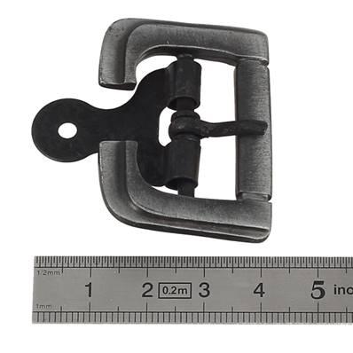 Boucle à ardillon avec chape et imitation rouleau - VIEUX NICKEL - 30 mm
