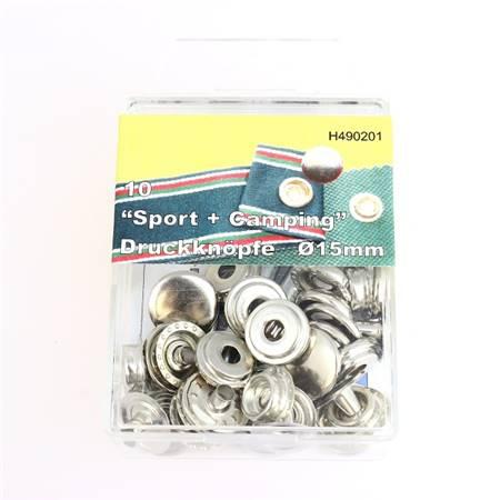 Kit 10 boutons pression FORT et outils de pose - 15 mm - NICKELÉ