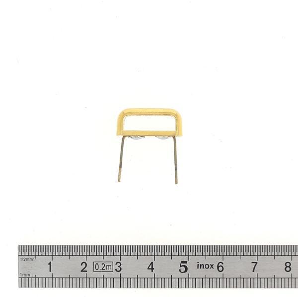 Passant rectangulaire à pattes - DORÉ - 15x4 mm