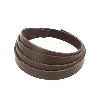 Bande de cuir de collet - MARRON CHOCOLAT - Larg 15 mm - Long 110 cm - Ép 1,9 mm