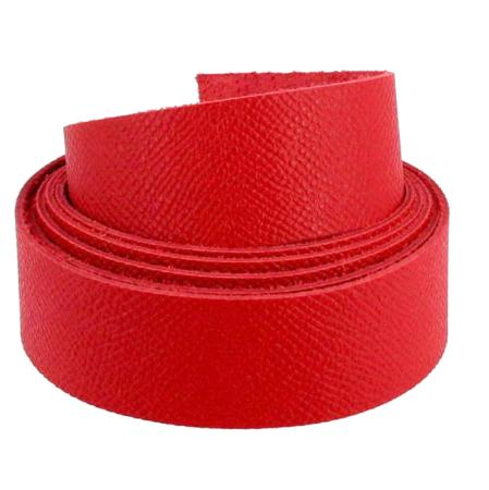 Sangle en cuir ROUGE - Grain dauphin - Largeur 24 mm