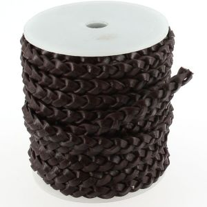 Lacet en cuir plat tressé - largeur 8 mm - CHOCOLAT