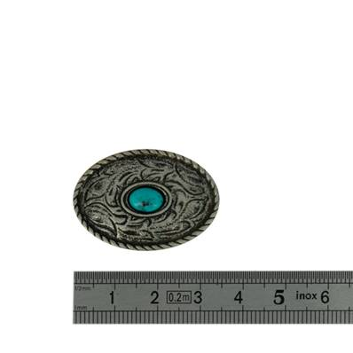 Concho NATIVE AMERICAIN - 34 x 23,5 mm - Argent vieilli