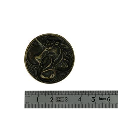 Concho LICORNE - 36 mm - Laiton vieilli
