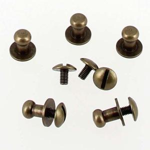 Lot de 5 boutons de col à vis T4 - Laiton vieilli avec vis 3x5mm