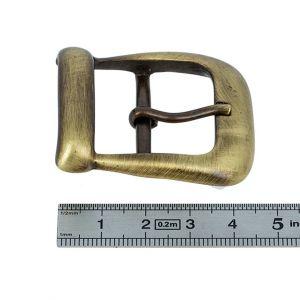 Boucle double à ardillon avec passant - LAITON VIEILLI BROSSE- 30 mm