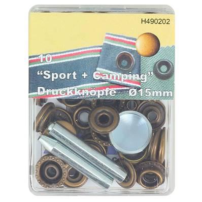 Kit 10 boutons pression FORT et outils de pose - 15 mm - LAITON VIEILLI