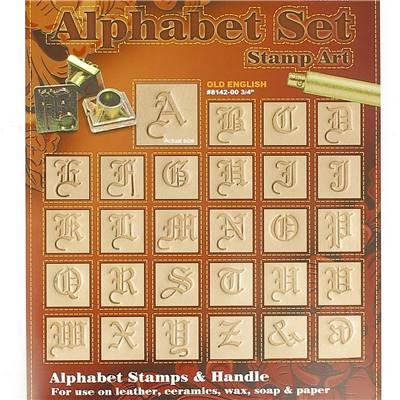 Jeu des 26 lettres de l'alphabet à frapper  - Vieil anglais - 1,91 cm