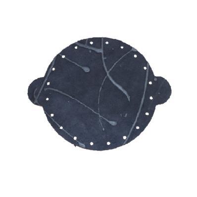 Cuir déja coupé pour faire une bourse en croûte de cuir BLEU NUIT - Diamètre 20 cm