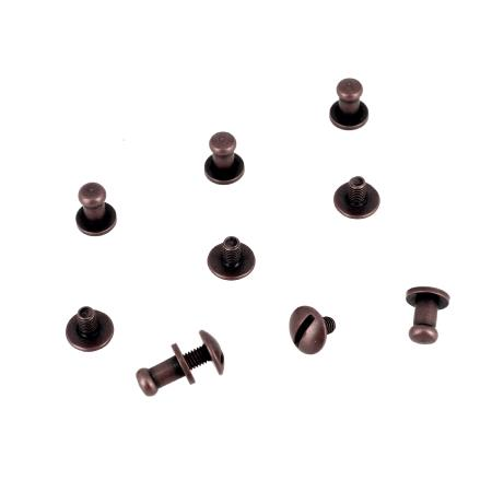 Lot de 5 boutons de col à vis T3 - Vieux Cuivre avec vis 3x5mm