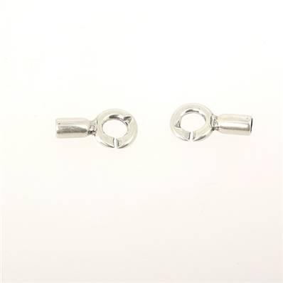 Fermoir bijou - Fermeture menotte fixe - Argent vieilli - Lacet rond 5 mm