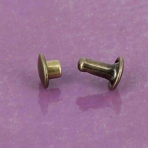 Lot de 100 rivets moyen DOUBLE CALOTTE en laiton (T3) finition laiton vieilli