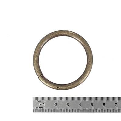 Anneau rond soudé - acier LAITON VIEILLI - 35 mm - Fil 5 mm