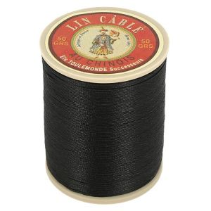 Bobine fil de lin au chinois câblé glacé - 332 - NOIR 180