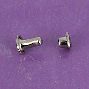 Lot de 100 rivets moyen DOUBLE CALOTTE en laiton (T3) finition Nickelé