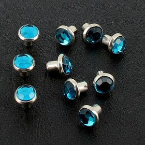Lot de 10 rivets strass moyen - BLEU TURQUOISE