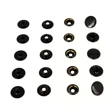 Lot de 100 boutons pression FORT en laiton NOIR - OSBORNE - LINE 20 : 12,5 mm