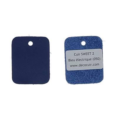 Un échantillon de cuir de vachette SWEET 2 - BLEU ELECTRIQUE