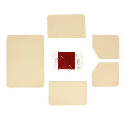 KitenCuir Porte Cartes double Maya - Fil rouge