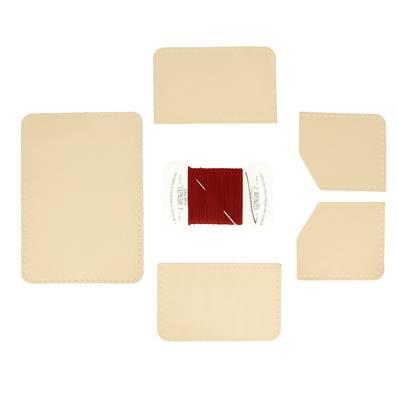 KitenCuir Porte Cartes double Maya - Fil rouge