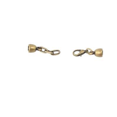 Fermoir bijou - Fermeture mini mousqueton - Laiton Vieilli - Lacet rond 3 mm