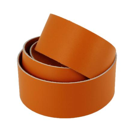 Sangle en cuir ORANGE - Veau lisse type BOX - Largeur 19 mm - 60 cm