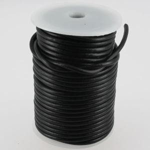 Lacet en cuir rond - diam 4 mm - NOIR