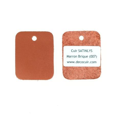 Échantillon de cuir de veau SATINLYS - MARRON BRIQUE