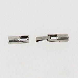 Fermoir bijou - Fermeture clip - Argent vieilli - Lacet rond 3 mm
