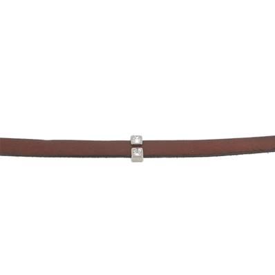 Coulissant DEUX STRASS - Lanière de 10 mm - ARGENT VIEILLI