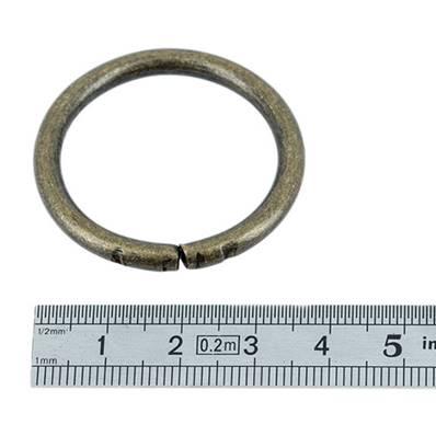 Anneau rond - acier LAITON VIEILLI - 30 mm - Fil 4 mm